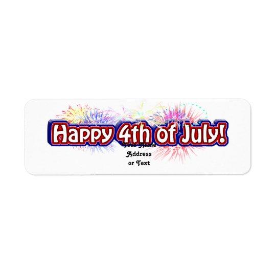 4 juillet conception heureuse w/Fireworks des Étiquette D'adresse Retour