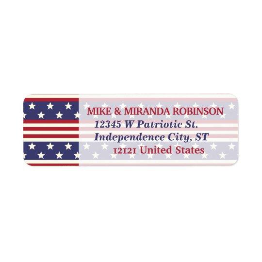 4 juillet drapeau patriotique des Etats-Unis de Étiquette D'adresse Retour