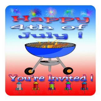 4 juillet invitation heureuse de barbecue