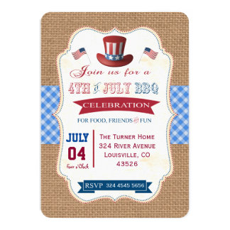 4 juillet invitation rustique de guingan de toile