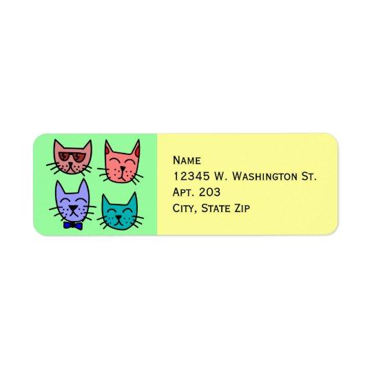4 visages mignons drôles colorés de chat de bande étiquette d'adresse retour