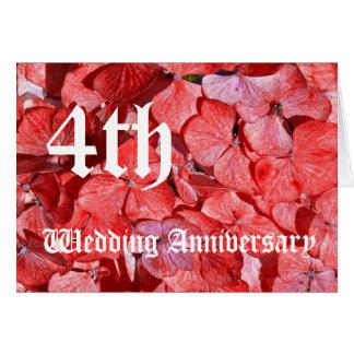 4de huwelijksverjaardag - Hydranga Wenskaart