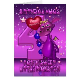 4ème Carte d'anniversaire avec le monstre pourpre
