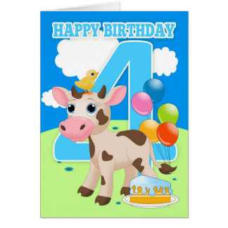 4ème Carte d'anniversaire avec le petits gâteau et