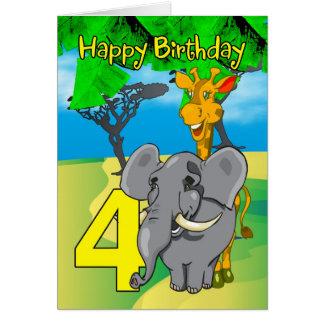 4ème Carte d'anniversaire - éléphant, girafe,