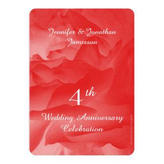 4ème Fête d'anniversaire, pétales de rose roses de Carton D'invitation 12,7 Cm X 17,78 Cm