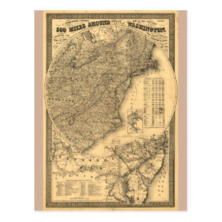 500 milles autour de Washington D.C. Map (1861) Carte Postale