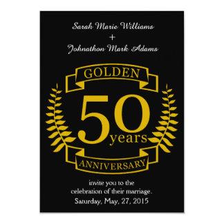 50 années d'or D'OR d'anniversaire de mariage 50 Carton D'invitation 12,7 Cm X 17,78 Cm