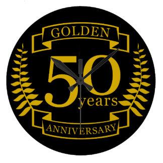 50 années d'or D'OR d'anniversaire de mariage 50 Grande Horloge Ronde