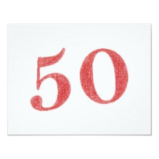 50 ans d'anniversaire carton d'invitation 10,79 cm x 13,97 cm