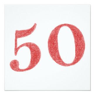 50 ans d'anniversaire carton d'invitation  13,33 cm