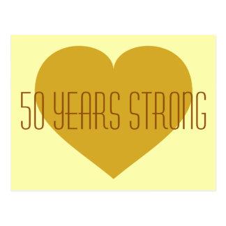 50 ans de coeur fort d'or massif carte postale