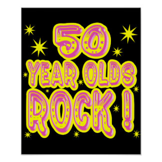 50 ans de roche ! Copie (rose) d'affiche