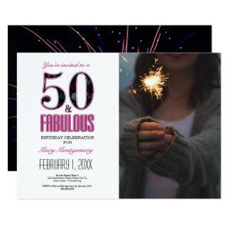 50 et anniversaire fabuleux Invititation de Carton D'invitation 12,7 Cm X 17,78 Cm