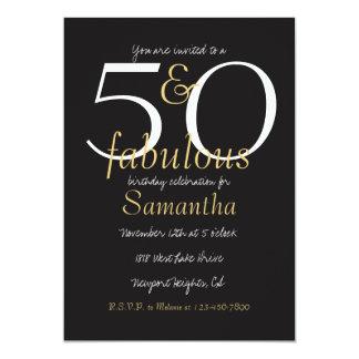 50 et blanc fabuleux de noir d'or carton d'invitation  12,7 cm x 17,78 cm
