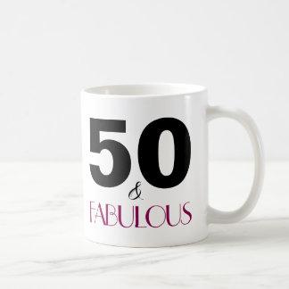 50 et cinquantième tasse de cadeau d'anniversaire