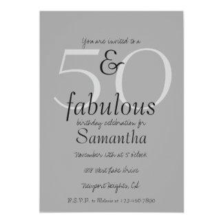 50 et fabuleux carton d'invitation  12,7 cm x 17,78 cm