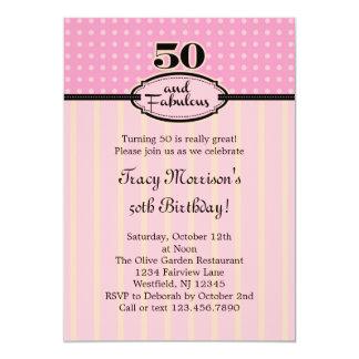 50 et invitation fabuleuse d'anniversaire