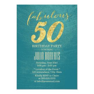 50 fabuleux anniversaire turquoise du vert et de carton d'invitation  12,7 cm x 17,78 cm