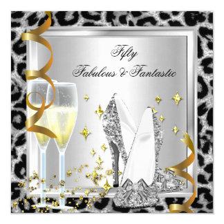 50 fabuleux et anniversaire argenté fantastique de carton d'invitation  13,33 cm