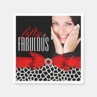50 fabuleux fête d'anniversaire noire rouge serviette jetable