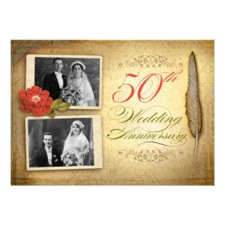 50 huwelijksverjaardag twee foto swijnoogst nodigt persoonlijke  aankondiging