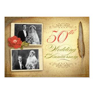 50 huwelijksverjaardag twee foto'swijnoogst nodigt 12,7x17,8 uitnodiging kaart