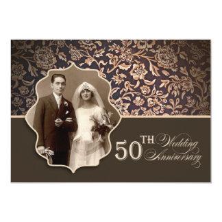50 invitations élégants bruns vintages de photo