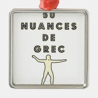 50 NUANCES DE GREC - Jeux de Mots - Francois Ville Ornement Carré Argenté