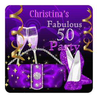50 talons hauts pourpres fantastiques fabuleux carton d'invitation  13,33 cm