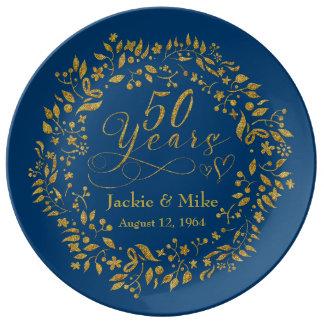 50ste Gouden Jubileum Gepersonaliseerde Gouden Porseleinen Bord