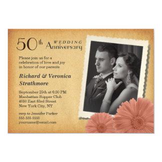 50ste Jubileum Vintage Daisy Photo Invitations 12,7x17,8 Uitnodiging Kaart