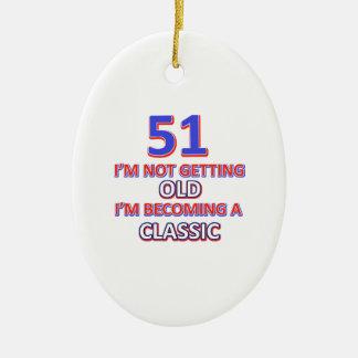 51 desigs d'anniversaire ornement ovale en céramique