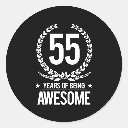 Super 55ste Verjaardag (55 Jaar van Geweldige het Zijn) Ronde Sticker @NX95