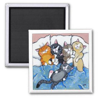 5 chatons somnolents - aimant d'art de chat