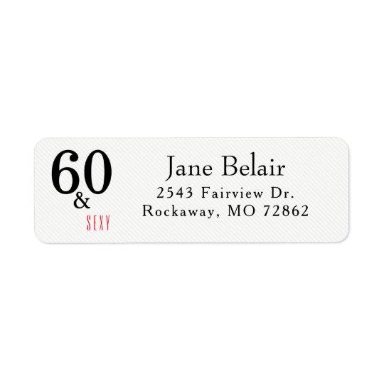 60 et étiquette de adresse sexy de retour
