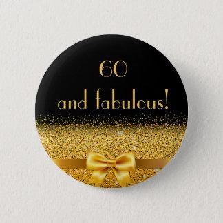60 et noir élégant fabuleux d'étincelle d'arc d'or badge rond 5 cm