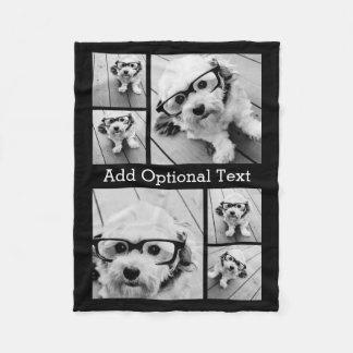 6 de Facultatieve Tekst van de Collage van de foto Fleece Deken