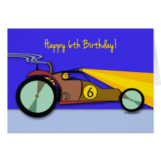 6ème Anniversaire pour l'enfant, buggy des sables Carte De Vœux