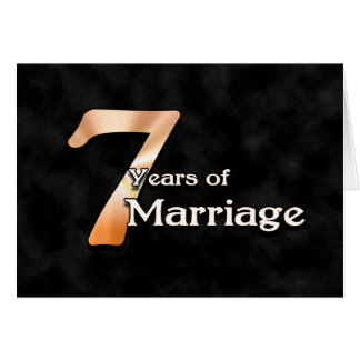 7 jaar van Huwelijk (huwelijksverjaardag) Wenskaart