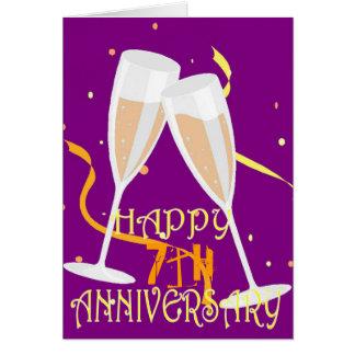 7de de champagneviering van de huwelijksverjaardag wenskaart