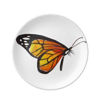 """8,5"""" plat orange/jaune de porcelaine de papillon assiette en porcelaine"""