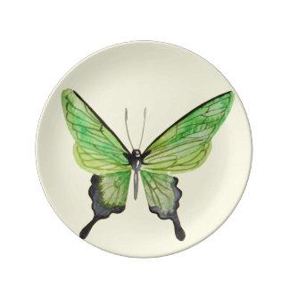 """8,5"""" vert/plat jaune de porcelaine de papillon assiette en porcelaine"""