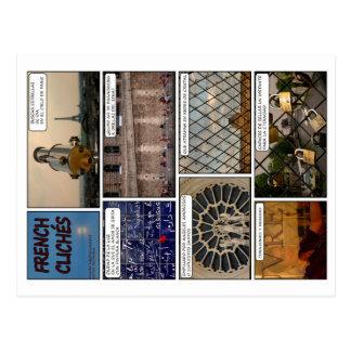 8 cartes postales «French Clichés» avec poème en