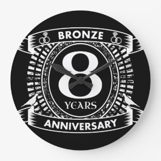 8ème bronze d'anniversaire de mariage grande horloge ronde
