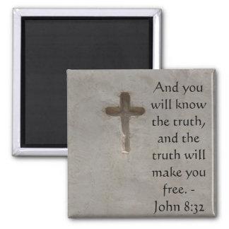 8h32 inspiré de John de VÉRITÉ de vers de bible Magnet Carré