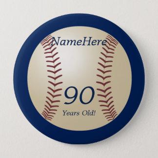90 années, base-ball sur le Pin bleu de bouton Badge Rond 10 Cm