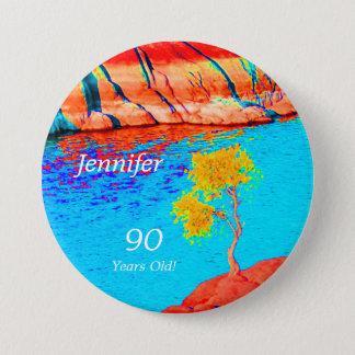 90 années, Pin coloré de bouton de paysage Badge Rond 7,6 Cm
