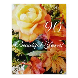 90 belles années ! - Anniversaire/bouquet rose Carton D'invitation 10,79 Cm X 13,97 Cm