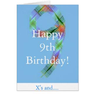 9ème carte d'anniversaire de petits enfants
